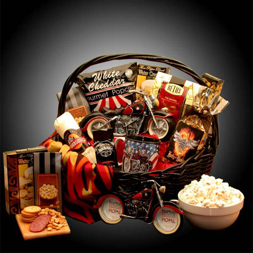 Buy holiday gift baskets men - He\'S A Motorcycle Man Gift Basket, Elegant Gift Baskets Online