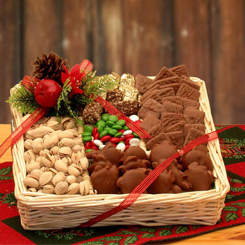 Buy best holiday gift baskets - Sweet Treats Holiday Gift Tray, Elegant Gift Baskets Online